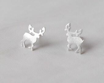 925 Silver ear studs deer reindeer Christmas
