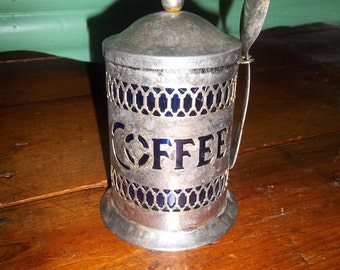 Vintage Silver Plate Open Scrolled Coffee Canister with Cobalt Blue Liner