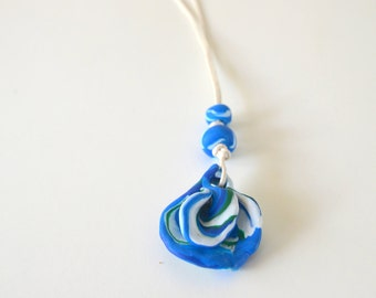 Blue and White Petal Necklace