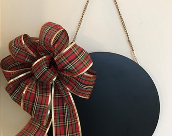 Round Hanging Chalkboard with Plaid Bow (Bow is removable/changeable)