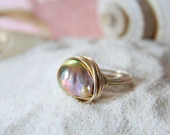 Fresh water pearl wire wrapped ring