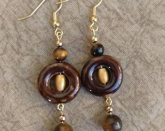 Brown Tigers Eye - Dangle Earrings
