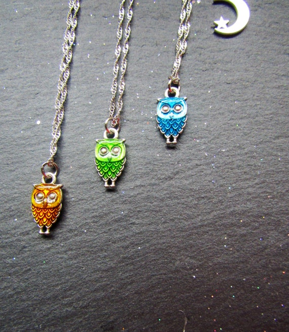 Colourful owl necklace, Your choice of colour, Boho Chic Necklace, owl Necklace, Charm necklace, Boho Charm necklace, enamel owl necklace