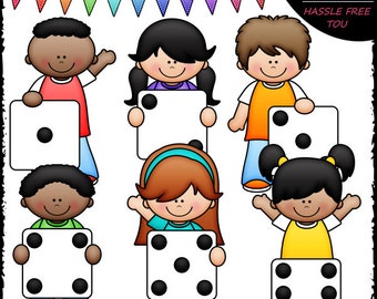 Dice Kids Clip Art and B&W Set