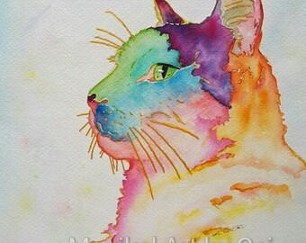 Rainbow Watercolor Animal Portrait - COMMISSION WORK