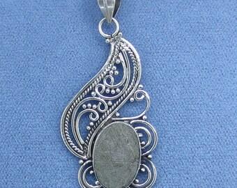 Gibeon Meteorite Pendant - Sterling Silver - Moon & Stars Filigree - P171029 - Free Shipping