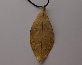 Gold Skeleton Leaf Pendant No 1