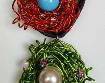 Wire Wrapped Bird Nest Necklace Jewelry for Women Orange Lime Green Free Shipping Jewelry