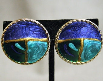 Jay Feinberg Enameled Clip On Earrings Gold Tone With Purple Blue Aqua Vintage Geometric Studio Designer Modernist Statement High Fashion