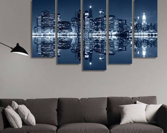 LARGE XL Manhattan, New York City Canvas Print City Skyline at Night Canvas Night Lights Canvas Wall Art Print Home Decoration - Stretched