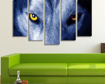 LARGE XL Beautiful Eyes of a Wild Wolf Canvas, Wild Wolf Canvas, Wolf Eyes Canvas, Wall Art Print Home Decoration - STRETCHED