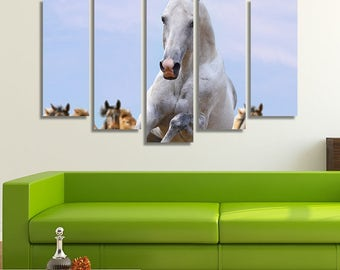 LARGE XL White Horse Running Canvas Print Herd of Wild Horses Galloping Canvas Silver Horse Ahead Wall Art Print Home Decoration - Stretched