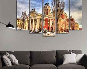 LARGE XL Ivan Vazov National Theater in Sofia, Bulgaria Canvas Wall Art Print Home Decoration - Framed and Stretched - 1132
