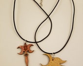 """Yawë (""""elf friend"""") left-facing and Zar'roc (""""misery"""") wood pendant necklace COMBO PACK"""
