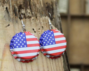 4th of July Earrings American Flag Earrings American Flag Bottle Cap Earrings Patriotic Earrings Flag Earrings Flag Jewelry
