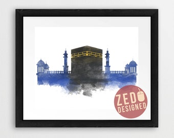 Makkah Skyline, Kabah, Watercolour Skyline, Islamic Wall Art Print, Hajj, Umrah Printable, Digital Download