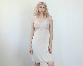 70s Mini Slip // Vintage Lingerie Off White Dress Sheer Lace - Medium