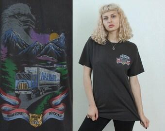 90s Eagle Shirt Wal-Mart // Vintage 1990s Black Tee Retro Top - Large