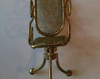 Miniature Gold Office Desk Chair, Dollhouse Furniture, Swiveling