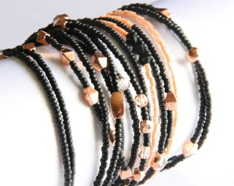 Beaded cuff wrap bracelet - black and pink copper