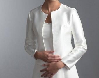 Long sleeve bridal jacket, Bridal jacket, Long sleeve bolero, Long sleeve bridal jacket, Long sleeve jacket made of bridal fabric Mikado
