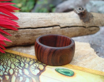 Rosewood Ring (10 3/4) Earth Jewelry/Handcrafted Ring/Natural Wood/Simple Ring/Heart Chakra/Organic Jewelry/Rosewood/FromHerTrees/Gaia