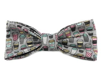 Cute Coffee Lover Dog Collar Bow Tie by Oh My Paw'd