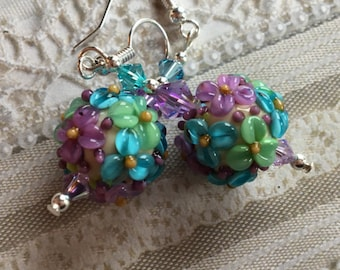 Pale Mint, Lavender & Blue Flower/Floral Earrings, Lampwork Jewelry, Valentines Day Gift, Mothers Day, Gift For Her