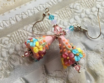 Flower Lampwork Earrings, Pink, Yellow, Blue Floral Earrings, Cone Earrings, Lampwork Jewelry,Mothers Day, Gift For Her
