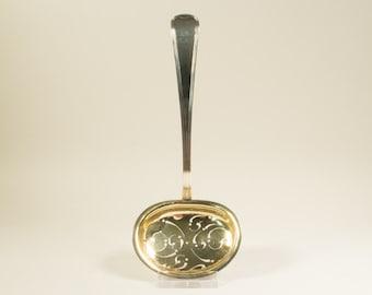 Silver sugar castor spoon, A.L. Schoïen, Norwegian, end 19th century, gilded bowl, silver 828/1000, 20 cm, 45 grams