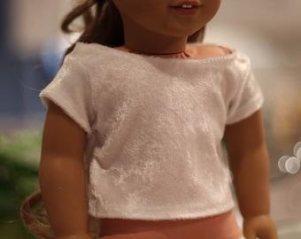 """18"""" Doll White Velvet T-Shirt"""