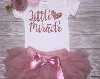 New Baby Girl Outfit | NICU Baby | IVF | Little Miracle | Premature Miracle | March of Dimes | NICU Graduate | Premature | Baby Shower Gift