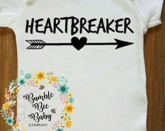 Monogramed/Personalized Baby Onesie Bodysuit or T-Shirt For That Lil *HEARTBREAKER* In The Family, Perfect Gift Or For Your Lil One