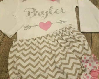 Personalized Baby Girl Pink and Gray Chevron Newborn Onesie Bloomers, Headband and Socks, Baby Shower, Going Home
