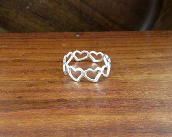 925 Sterling Silver Heart Ring - Size 8.75 - Vintage