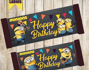 Minions Chocolate wrappers-Printable Minion Chocolate wrap-Digital Chocolate wrappers-Minion birthday decoration-Minion Hershey's Candy
