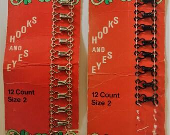 Vintage Newey Hooks and eyes - size 2 - Made in England