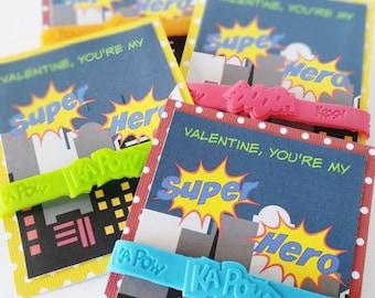 Superhero Valentines, Superhero Party Favors, Classroom Valentines, Valentines for Boys, Non Candy Valentines, Valentine's Day Treats