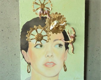 "Golden Thoughts // Original Mixed Media Painting // by Mandie Aberra // 18"" x 24"" // Canvas Art"