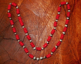 Coral & Silver Bead Necklace/27""