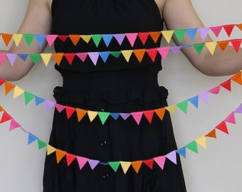 Mini bunting, muted Rainbow felt garland. Reusable Party decoration, garland. Office Desk bunting. Party garland. Baby shower decoration.