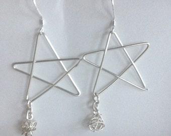 celestial earrings stars star earrings celestial jewelry 925 sterling silver stars french hooks dangle stars