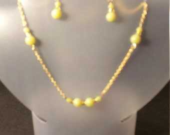Yellow and gold necklace/earring set
