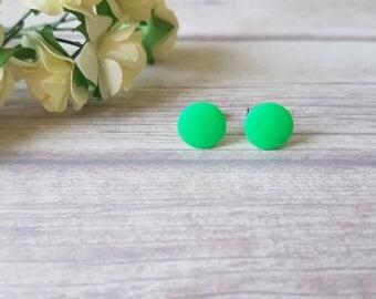 Neon green earrings, Fun earrings, Summer earrings, Earrings for girls, Neon green studs, Green stud earrings, Simple earrings, Round studs