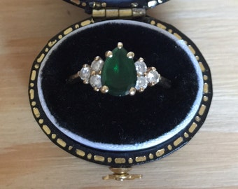 Vintage Pear Tourmaline Ring with Diamonds - size US 5.25
