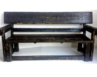 Rustic Bench With Cup Holders (LOCAL Pickup/DELIVERY ONLY)