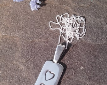 Two Hearts hand crafted silver pendant