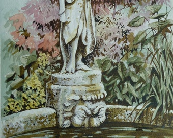 "Watercolour and pen picture, ""Statue by Pool"""