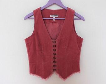 Pink Vest Corduroy Romantic  Womens Fitted Waistcoat  Medium  Size