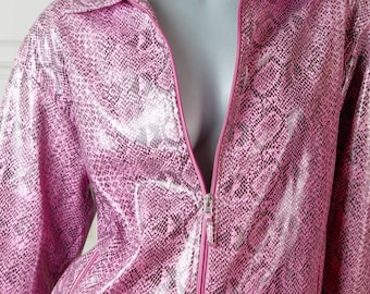 German Vintage Pink Python Print Jacket, Women's Retro Snakeskin Print Jacket, European Python Pattern Jacket: Size 12-14 (US), 16-18 (UK)